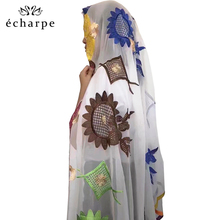 2019 新アフリカ女性スカーフイスラム教徒刺繍ソフトシフォンビッグスカーフショールラップパシュミナ女性スカーフ EC158