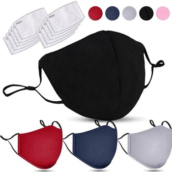 2pc Adult Cotton Fabric Face Mask Reusable With 10pc Activated Carbon Filter Adjustable Dustproof Foggy Haze Anime Mouth Muffle image