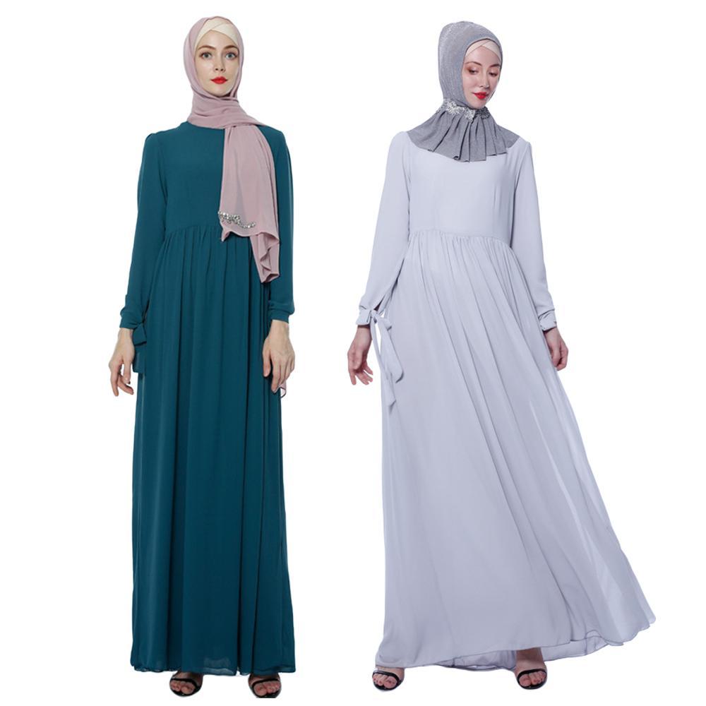 Femmes musulmanes Abaya mousseline de soie longue Maxi robe Jilbab Islam turquie Cocktail fête arabe drapée conception à manches longues robe 2019 mode