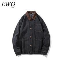 EWQ/chaqueta vaquera con bolsillo holgado de talla grande vintage 9Y940 para hombre, novedad de verano 2020