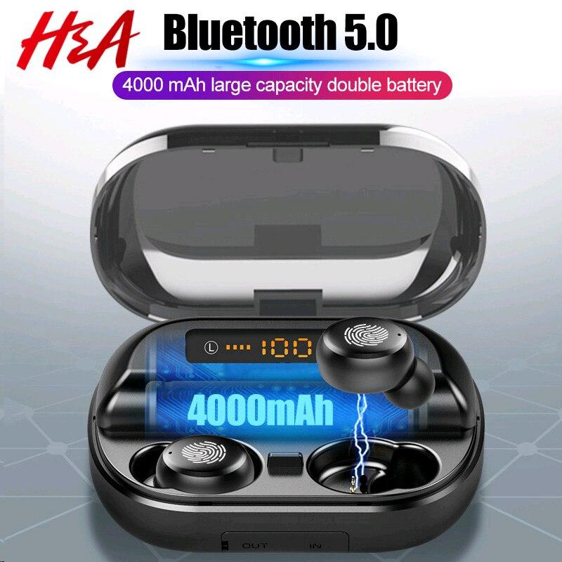 H & A TWS 5,0 Bluetooth 9D Stereo Kopfhörer Drahtlose Kopfhörer IPX7 Wasserdichte Kopfhörer Sport Kopfhörer Mit 4000mAh Power bank