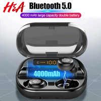H & A TWS 5.0 Bluetooth 9D stéréo écouteur sans fil écouteurs IPX7 étanche écouteurs Sport casque avec 4000mAh batterie externe