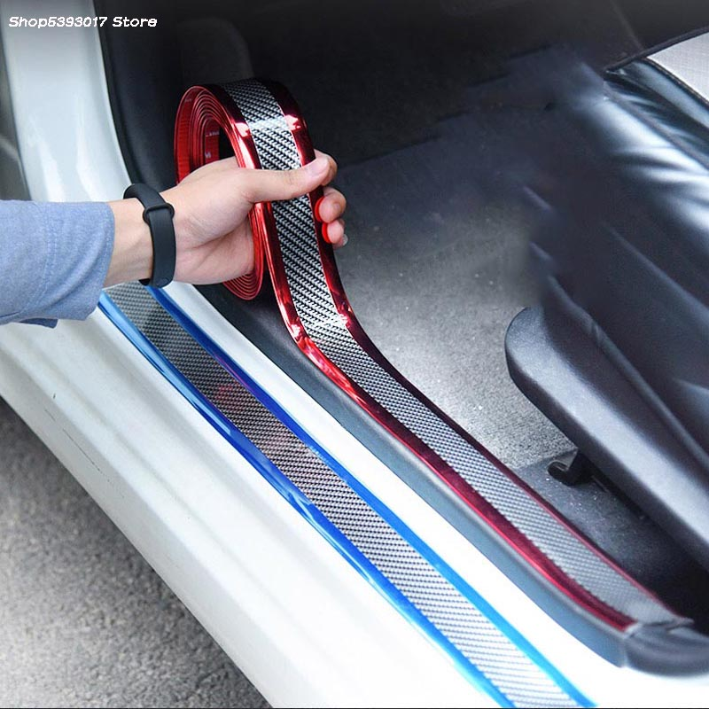 5CM 7CM Carbon Fiber Car Door Sill Anti Scratch Strip Cover Car Door Sill Protector Film For SEAT LEON ARONA ATECA IBIZA FR