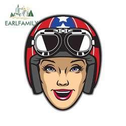 EARLFAMILY 13cm x 10.3cm for Women Rider Wearing Motorcycle Helmet Graffiti Sticker Fashion Fine Decal Waterproof Car Stickers