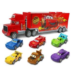 Image 2 - 7pcs/set Disney Pixar Car 3 Jackson Storm McQueen Lightning Cruz Mack Uncle 1:55 Diecast Truck Model Car Toys for Kids Christmas