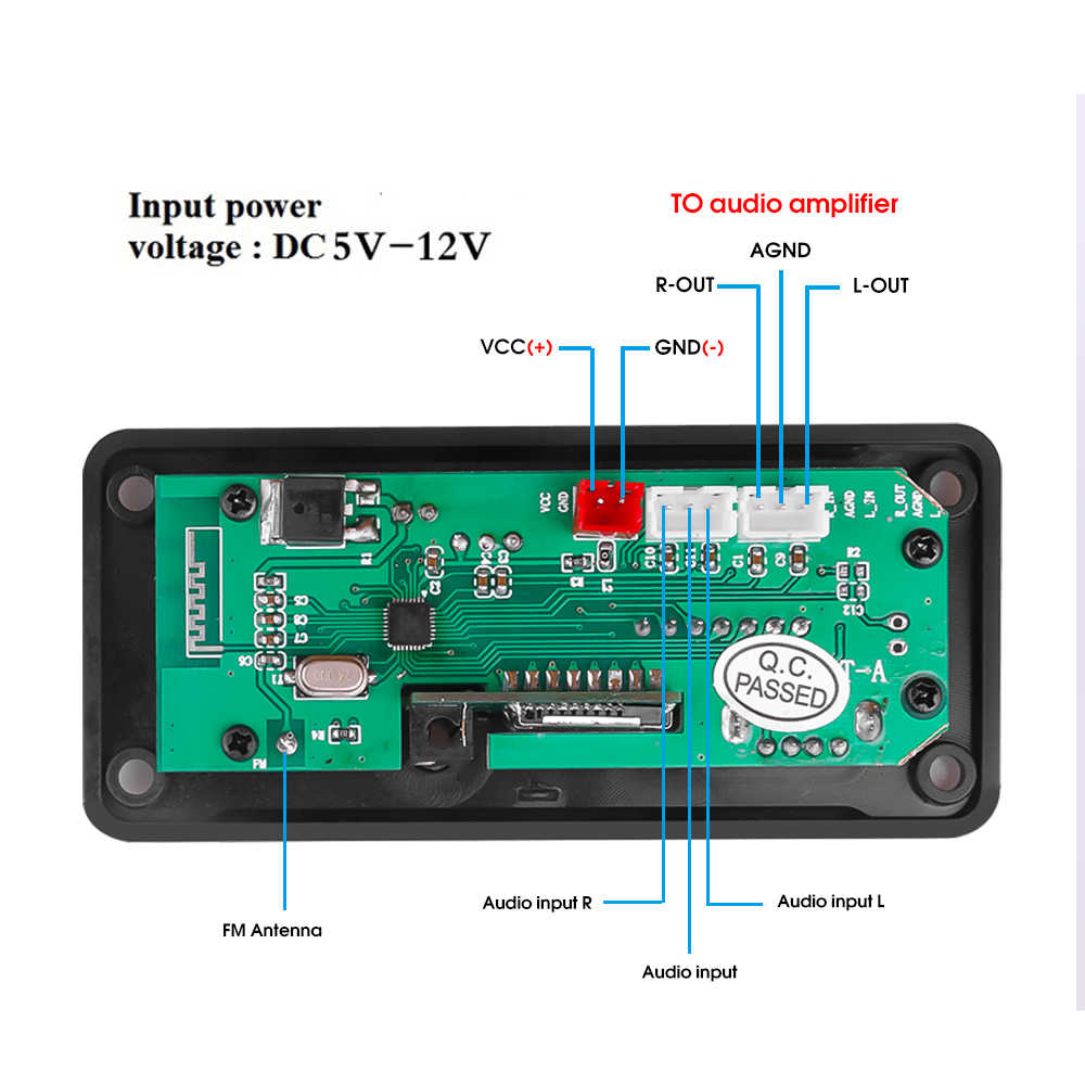 3.5 Mm Aux 12V Bluetooth 5.0 Wav Mp3 Speler Decodering Boord Fm Radio Module Draadloze Audio Ontvanger 3.5 Mm tf Card Voor Toyota Yatou