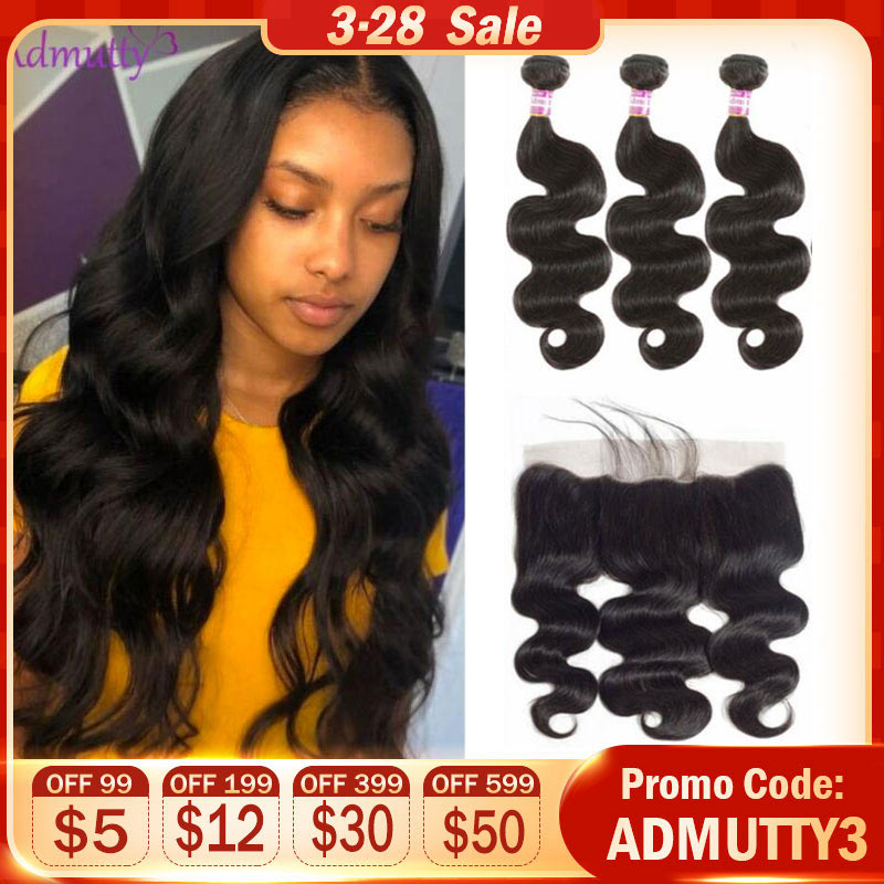 Peruvian Body Wave Bundles With Frontal Hair Weave Bundles With Closure Pre Plucked Non Remy Human Hair Extensions Natural Color