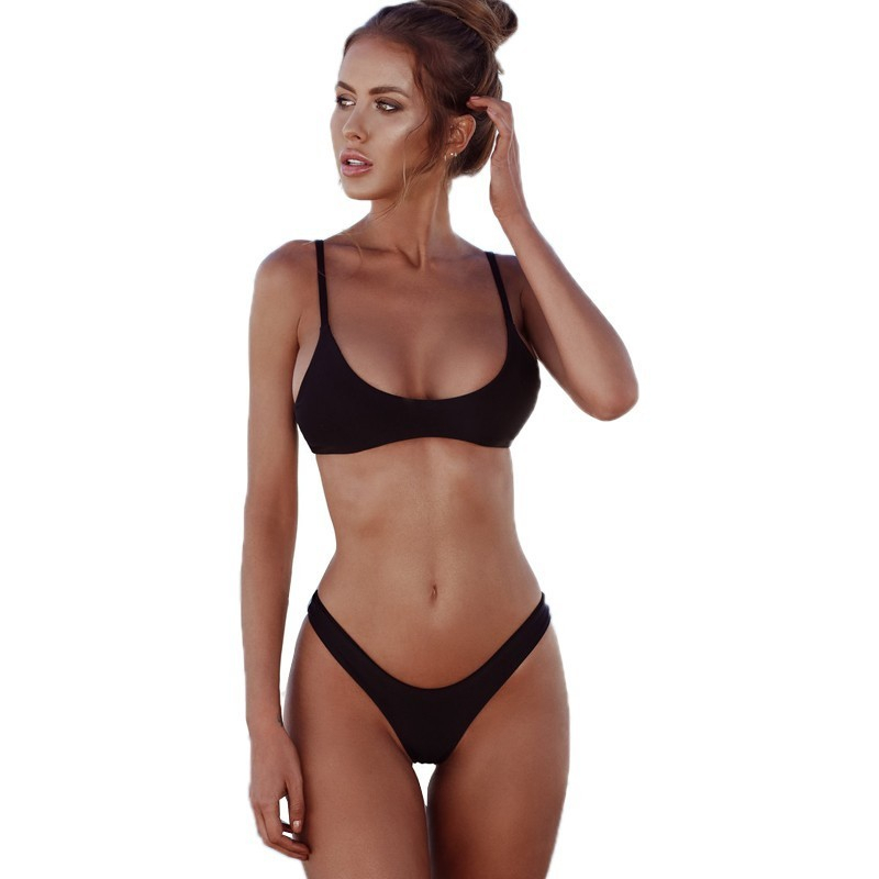 Lefeel Solid Bikini Set Women Sexy Brazilian Swimsuit Bikinis Summer Tube Top Swimwear Low Waist Bathing Suit Female Biquini 2