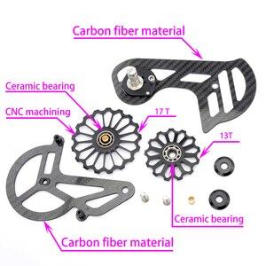 Image 2 - 自転車カーボン繊維セラミックリアderailleur17TプーリーガイドホイールためR5800 R6800 R7000 R8000 R9100 R9000自転車アクセサリー