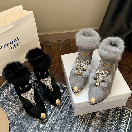 Shoes female winter plus velvet fox scalp shoes women's platform high heel pointed boots short boots rabbit fur snow boots 27