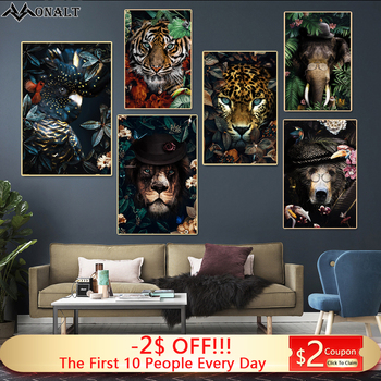 Obraz na płótnie obraz na ścianę lew plakat tygrys słoń ełk Orangutan zwierząt w kwiaty obraz nowoczesna klasyka malarstwo dekoracyjne Niestandardowe obrazy na płótnie do salonu tanie i dobre opinie Estmo ART CN (pochodzenie) Płótno wydruki Pojedyncze Wodoodporny tusz Unframed Europa BH256 Malowanie natryskowe Poziome Prostokąt