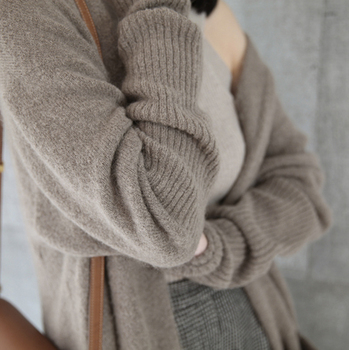 Ailegogo New 2020 Autumn Winter Women's Sweaters Korean Style Fashionable Minimalist Solid Color Casual Long Cardigans SWC8133 3