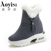 Осенние женские ботильоны; ботинки на платформе; кроссовки с кисточками, увеличивающие рост; ботинки на танкетке 9 см; Женская дышащая обувь