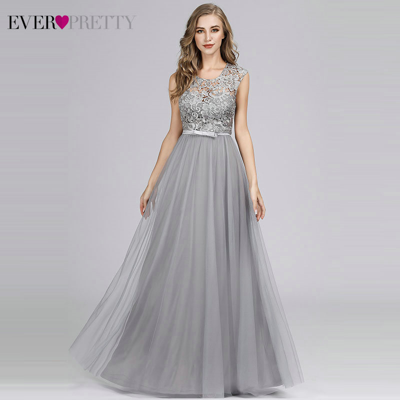 Ever Pretty Grey Bridesmaid Dresses For Women A-Line O-Neck Bow Sashes Elegant Lace Wedding Party Dresses Sukienki Weselne 2020