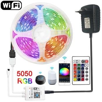 цена на LED Strip 12v WiFi LED Lights Strip Waterproof RGB Tape 5050 2835 Flexible 5M 10M 15M Diode Tape Remote Ribbon LED Light