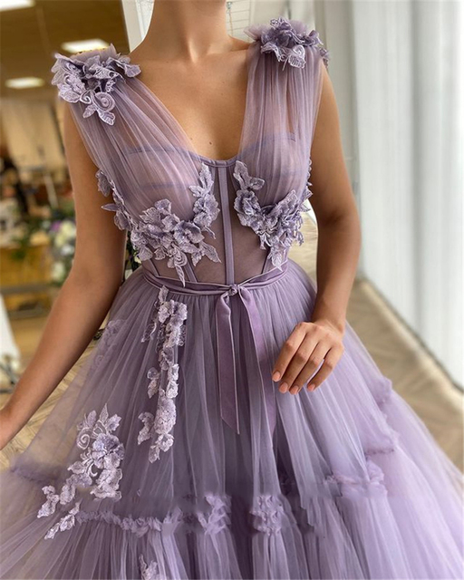 Sevintage Elegant Lavender Tiered Tulle Long Prom Dresses 2021 A Line Fitted Boning 3D Flowers Floor Length Evening Gowns 2