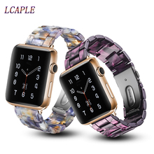 Pasek z żywicy na pasek do apple watch 44 mm 38 mm iwatch 42mm 40mm ze stali nierdzewnej watchband correa pulseira apple watch 5 4 3 2