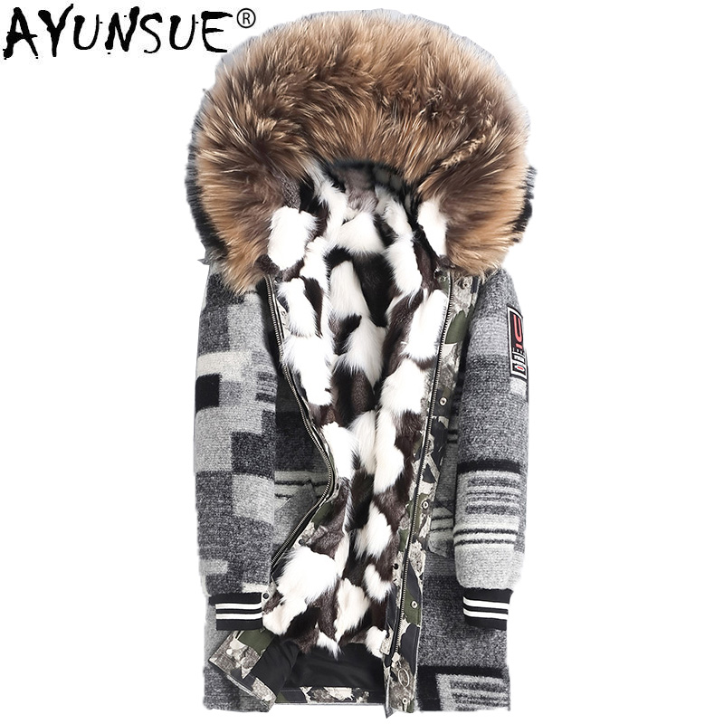 AYUNSUE 2019 Parka Real Fur Coat Men Winter Jacket Fox Fur Liner Warm Parkas Racoon Fur Collar Long Mens Winter Coats 4435