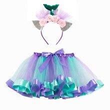 Jupes Tutu de sirène pour filles, bandeau gratuit, vêtement princesse Tutu de fête, moelleux, pour enfants de 2 7 ans