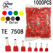 1000pcs/Pack TE 7508 Insulated Ferrules Terminal Block Double Cord Terminal Copper Insulated Crimp terminal Wires 2x0.75mm2 diy wp2 9 terminal block black red 5 piece pack
