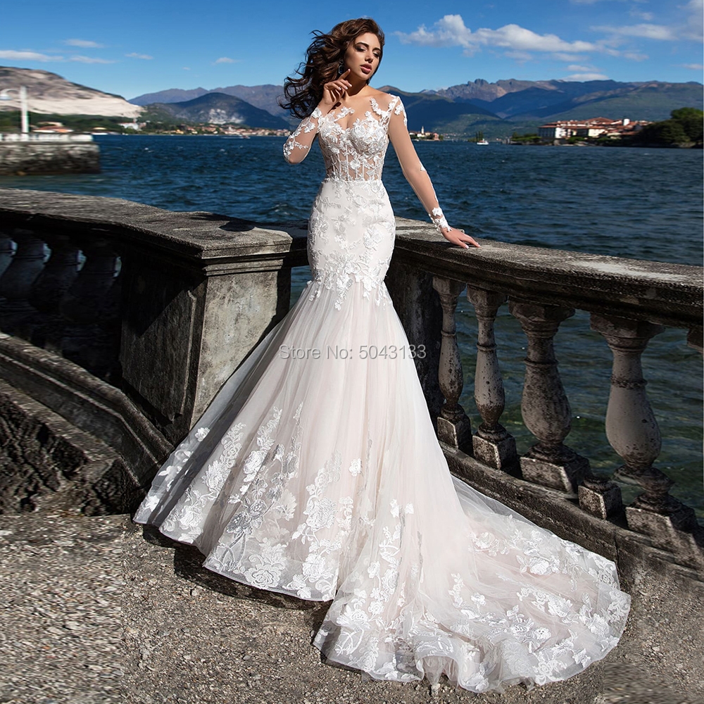 Romantic Lace Applique Mermaid Wedding Dresses Sexy Sheer O Neck Long Sleeves Wedding Gowns Sweep Train вечернее платье 2020