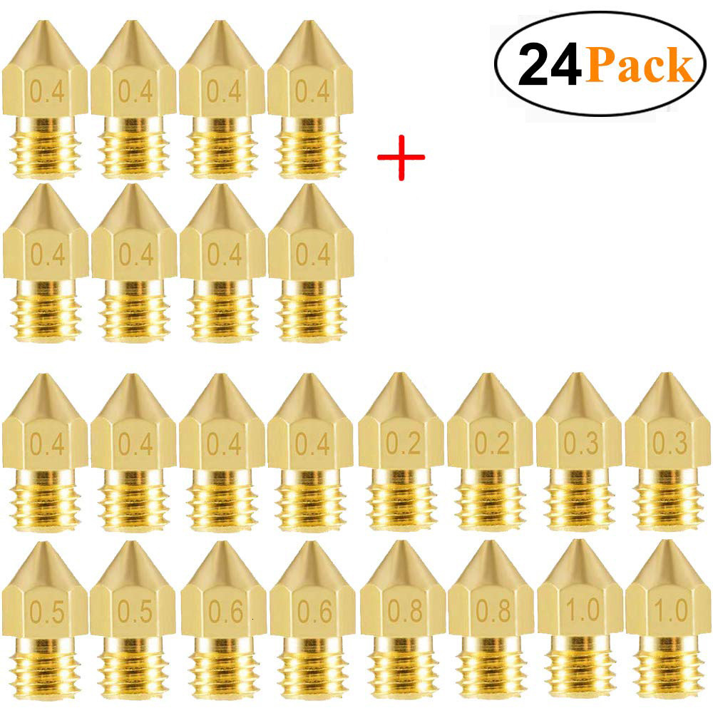 24 PCS 3D Printer Nozzles MK8 Extruder Nozzles 0.2mm 0.3mm 0.4mm 0.5mm 0.6mm 0.8mm 1.0mm For Makerbot Creality CR10 Ender 3 5