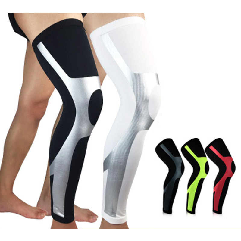 1PCS Sports Knee Protectors Breathable Long Knee Legwarmers Compression Calf Sleeve Volleyball Football Running Knee Supports