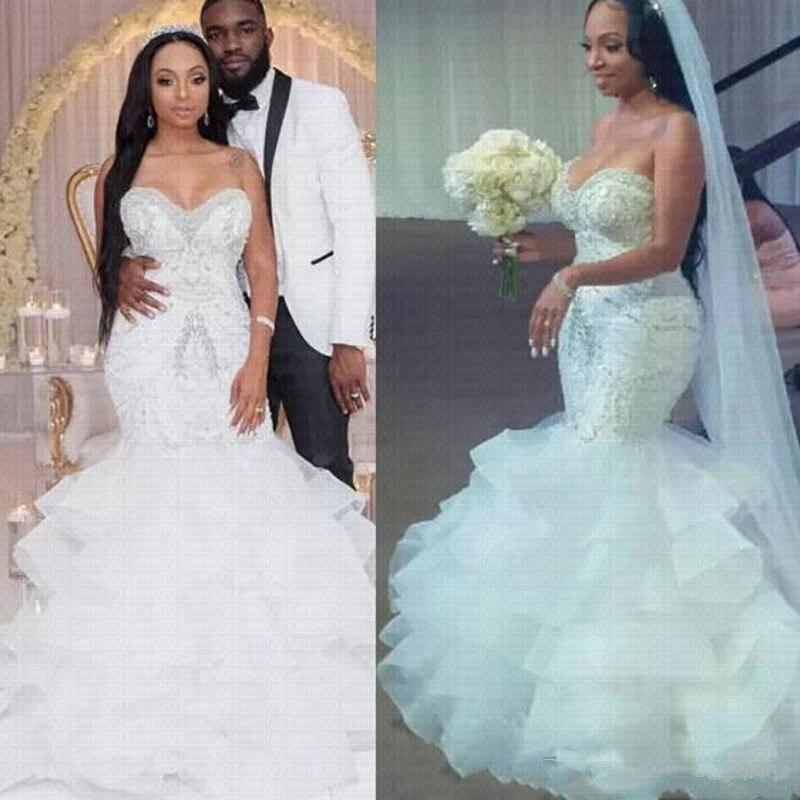 New Luxury Beaded Arabic Mermaid Wedding Dress 2020 Sheer Ruffles African Bridal Gowns