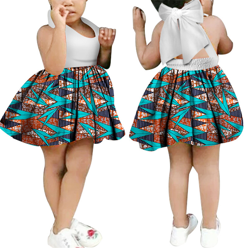 Girl Sling Bow-knot Dress 2019 News Dashiki Floral Print African Dresses For Women Kids African Clothes Infant Ethnic Clothing