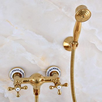 Luxury Polished Gold Color Brass Bathroom Hand Held Shower Head Faucet Set Mixer Tap Dual Cross  Handles mna972