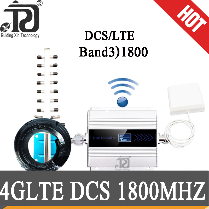 4G GSM 1800 Cellular Amplifier Repeater 2g 4g 1800mhz GSM Mobile Signal Booster  +panel Antenna + Yagi Antenna + 10m Cable Suit