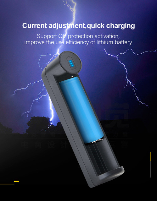 VOXLINK battery charger Smart charging 1 slot USB 18650 26650 18350 32650 21700 26700 26500 Li-ion Rechargeable Battery charger 5