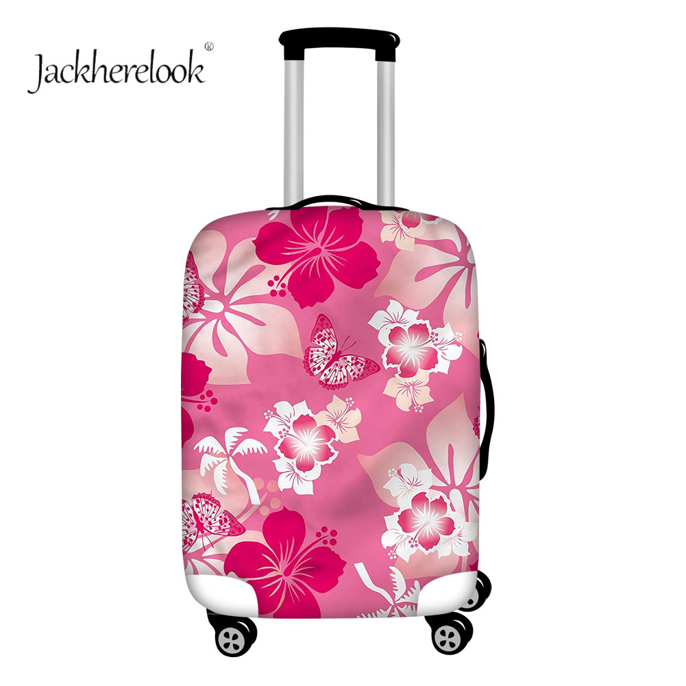 Jackherelook Butterfly Flower Printed Luggage Cover Travel Suitcase Protector Sheet Dirty/doof Anti Trolley Case Red Sheet