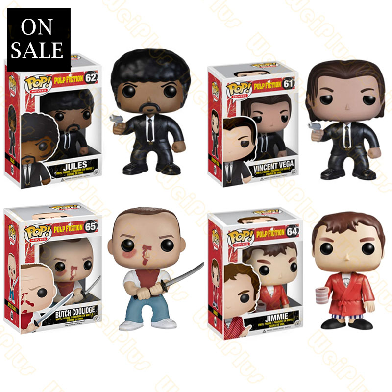 FUNKO POP Vinyl Doll Pulp Fiction Jules Vincent Vega Jimmie BUTCH COOLIDGE Pvc Action Figure Brinquedos Collection Model Toys