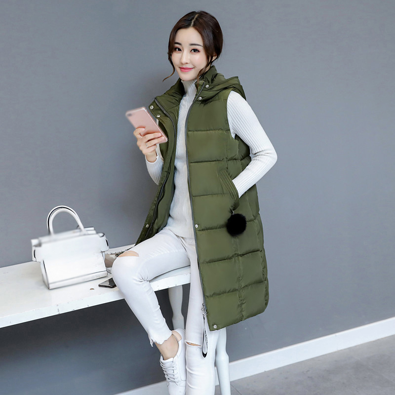 Women Winter Warm Vest Long Slim Hooded Quilted Jacket Puffer Waistcoat Coat