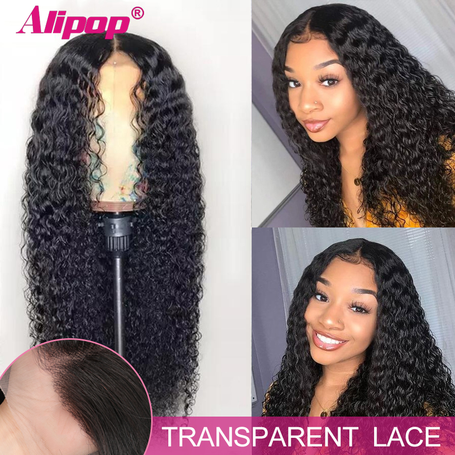 Alipop Wig 13x6 Human-Hair Lace-Frontal Curly Remy Hd Transparent Women