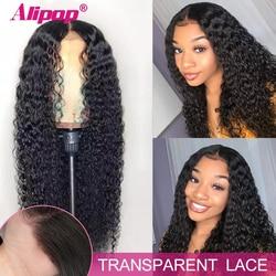 Peluca de cabello humano rizado 13x6, peluca con malla Frontal Remy HD transparente, pelucas con encaje Frontal Alipop, pelucas de cabello humano con encaje Frontal para mujer