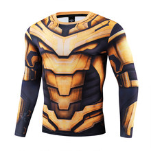 Personagem da Marvel 3D cosshirt Padrão de Pano da cópia do leopardo longo sleevesport quick dry apertado tshirt Ironman Marvel hero Robus(China)