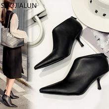 SUOJIALUN 2019 New Brand Autumn Female Boots Small Thin High Heels Woman Ankle Booties Pointed Toe Sexy Solid Short Boot