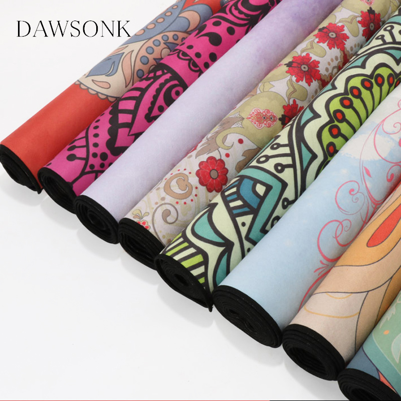 Ultra-thin Folding Soft Printing Sweat-absorbent Yoga Mat Non-slip Cloth Towel Yoga Portable Travel Pad Pilates 183cm*68cm*0.1cm