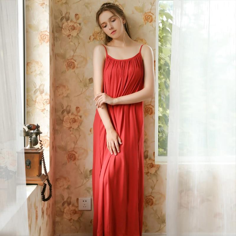 Image 3 - Women Spaghetti Strap Nightgown Wedding Birthday Solid Gown Pijamas Sexy Thin Summer Sleeveless Red Sleepwear Sleeping DressNightgowns & Sleepshirts   -