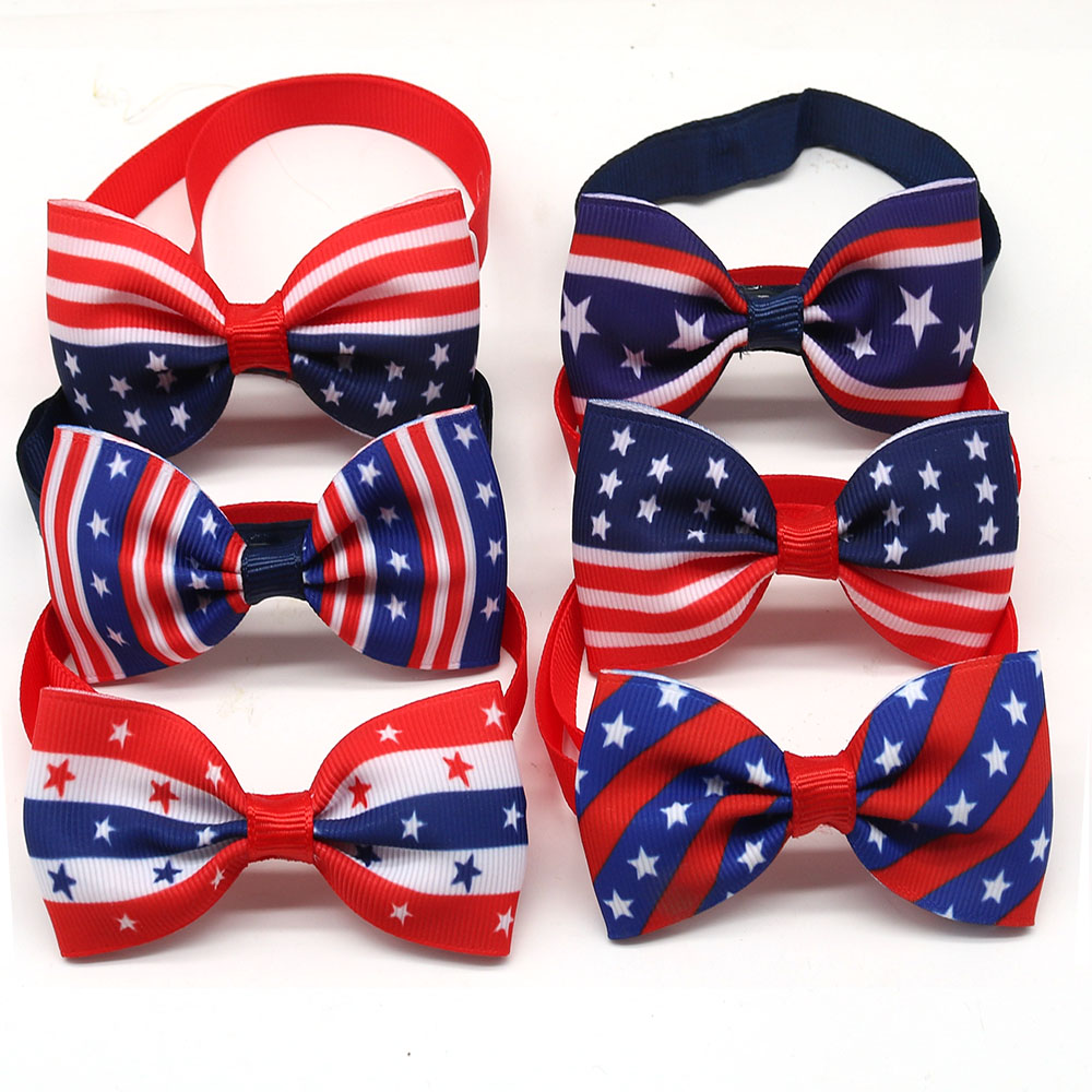 30pcs Dog Accessories Pet Bowtie Adjustable Pet Dog Cat Bow Tie Collar July 4th Pet Dog Grooming Supplies For Samll Dog Cat