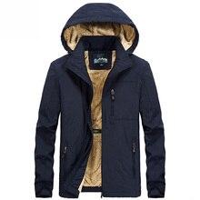 Меховая зимняя куртка с капюшоном Мужская модная теплая подкладка из шерсти мужская куртка и пальто ветрозащитная Мужская парка размера плюс M~ 5XL 6XL
