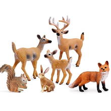 Forest Animals Figures, Miniature Toys Cake Toppers (Deer Family, Fox, Rabbit, Squirrel)