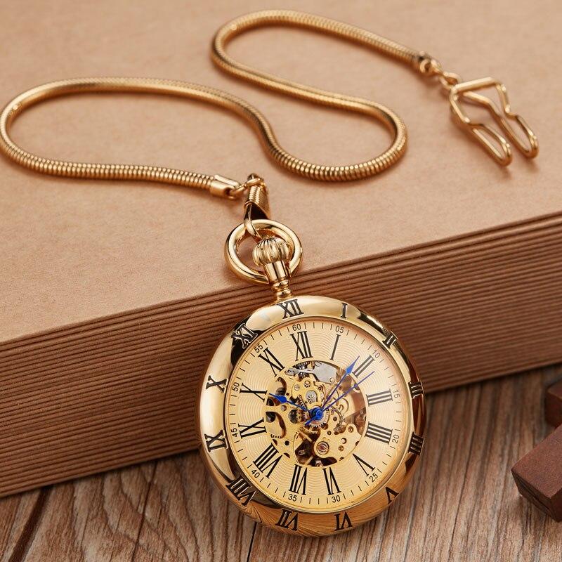 Qualidade do Vintage Relógio de Bolso Mecânico para Mulheres dos Homens Alta Ouro Automático Cobre Gravado Fob Chain Escultura Retro Bolso Relógios