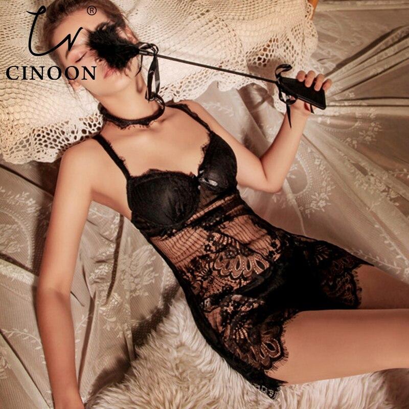 CINOON New Sexy Nightwear Lace Perspective Nightdress Bow Irregular Skirt Adjustable Bandage Sleepwear Collar Sling Suit