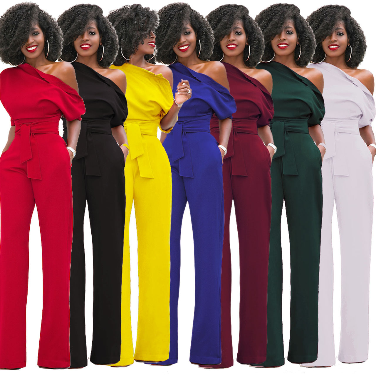 Independent Station Hot Selling Women's Classic Solid Color Trimmed Collar And Button One-piece Wide-Leg Pants