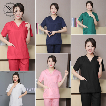 Hospital Operating Room Black Blue Nurse Scrubs Set Beauty Salon Work Uniform Medical Surgical Tops Pants Pet Doctor Workwear