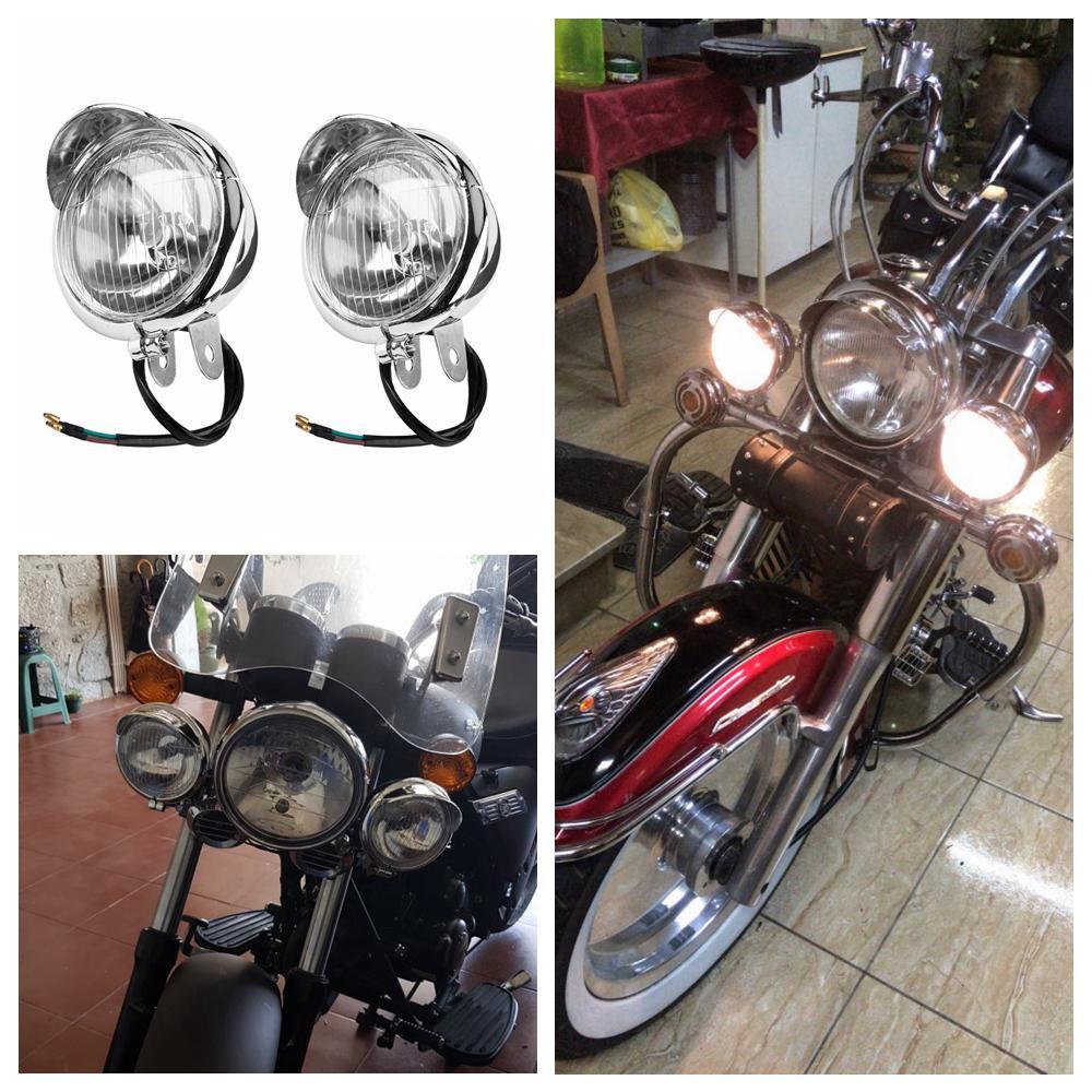 12v Universal Chrome Color ABS Motorcycle Fog Lights Headlight Lamp
