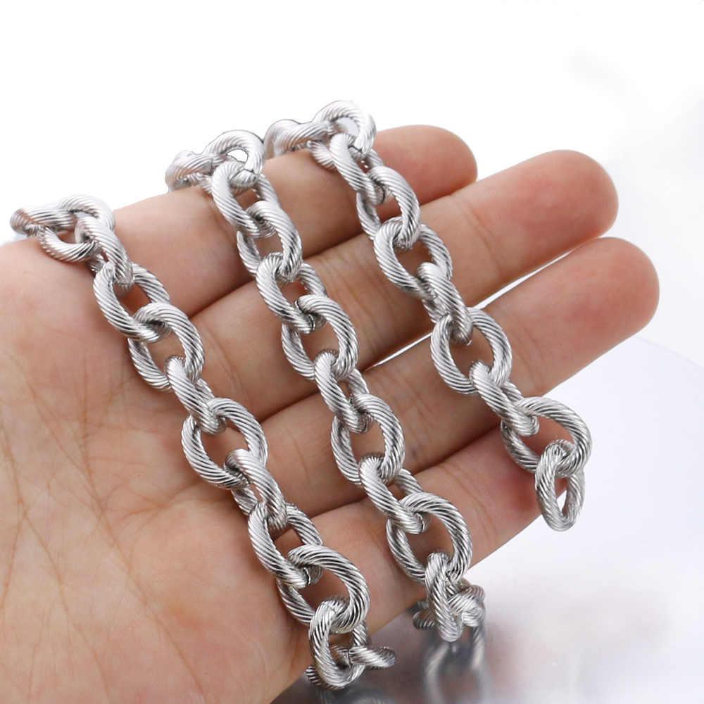 1 Meter Lebar 12 Mm Stainless Steel Kabel Jaringan Massal Berat Lingkaran Kusam Bertekstur Chunky Rantai untuk Punk Rock Perhiasan membuat